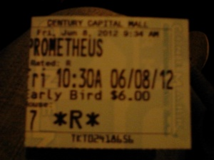 """First showing of """"Prometheus"""" opening day"""
