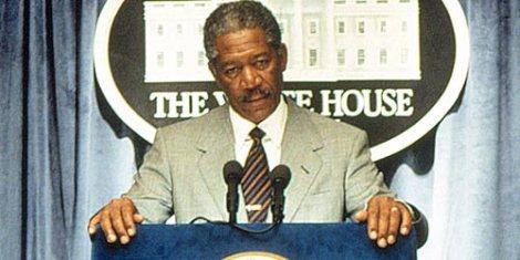 "Morgan Freeman is the president in ""Deep Impact"""