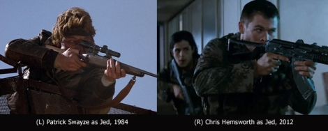 "Red Dawn - Patrick Swayze and Chris Hemsworth are ""Jed"""