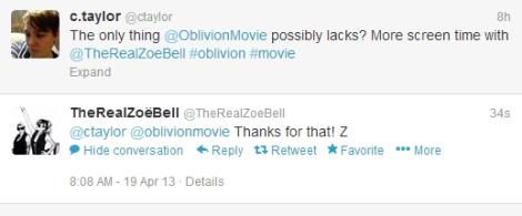 Zoe Bell tweet